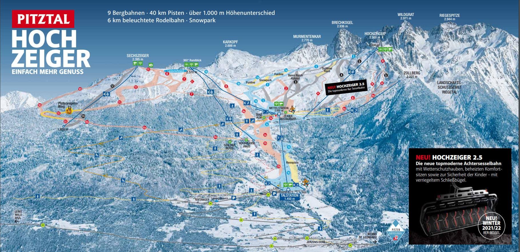 Skigebiet Hochzeiger Pistenplan